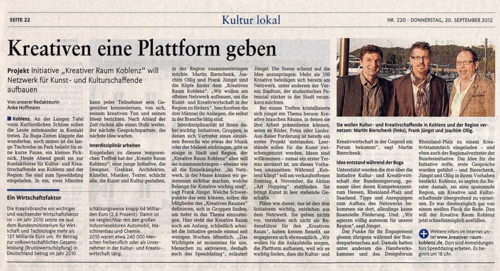 Rhein-Zeitung vom 20. SEPTEMBER 2012 - Kreativen eine Plattform geben