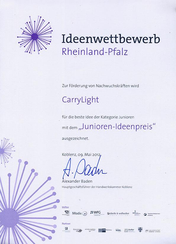Urkunde Ideenwettbewerb 2012